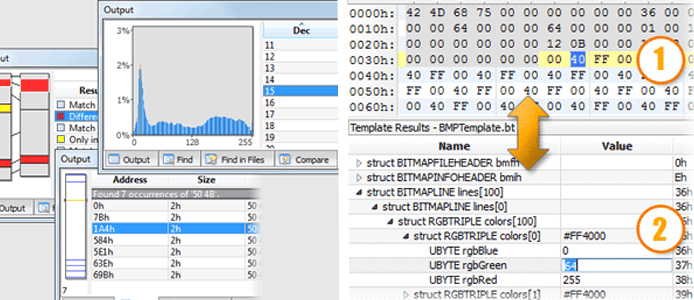 Screenshot of SweetScape's analytics tools and the 010 Editor
