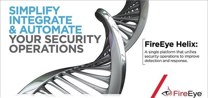 Promotional graphic for FireEye Helix depicting a double helix