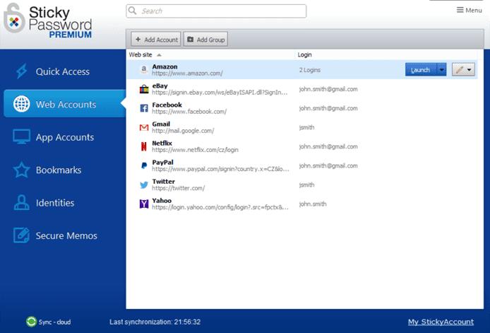 Screenshot of the Sticky Password UI