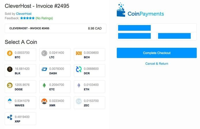 Screenshot of CleverHost invoice for cryptocurrency