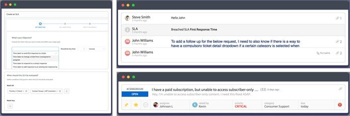 Screenshots of HappyFox SLA management tools