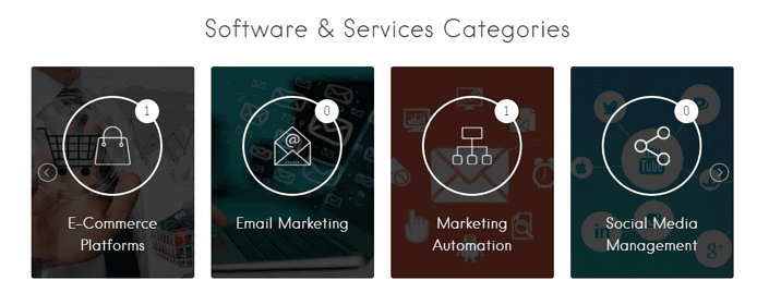 Screenshot of software and service categories in the ZNetLive SaaS Marketplace