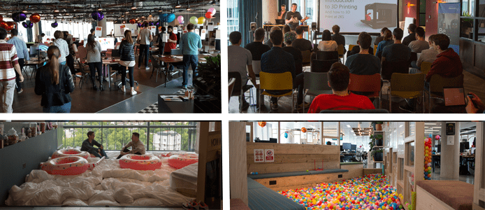 Photo collage of the SwiftKey team at work and play
