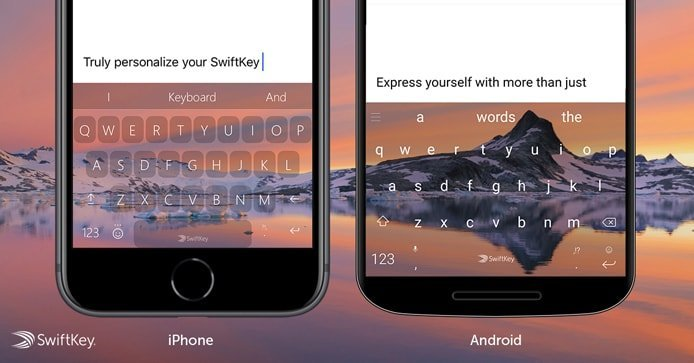 Photo of SwiftKey keyboards on iOS and Android phones