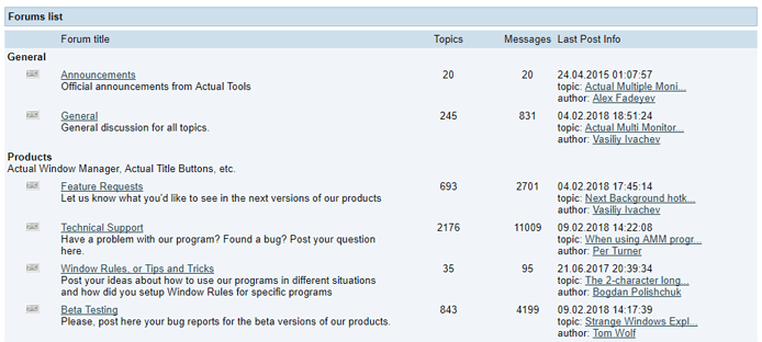 Screenshot of the Actual Tools forum