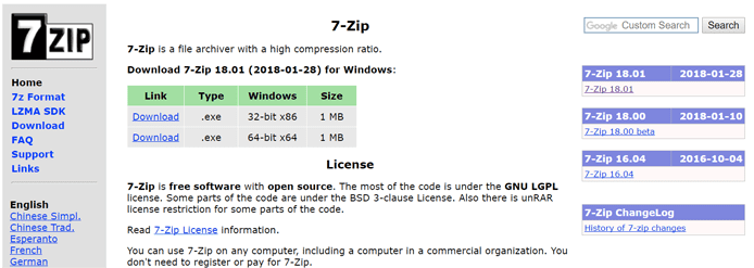 Screenshot of the 7-Zip homepage