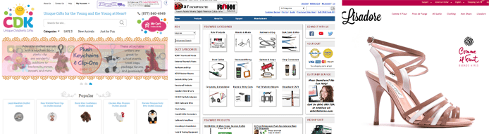 Screenshots of ViART eCommerce pages