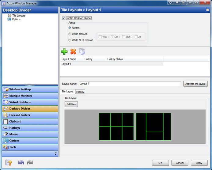 Screenshot of the Actual Windows Manager interface