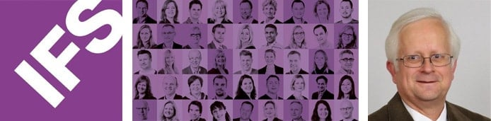 IFS logo with collage of employees and picture of Bill Leedale