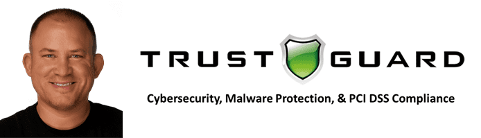 Luke Brandley's headshot and the Trust Guard logo