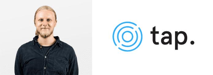 Matt Luke's headshot and the Tap logo
