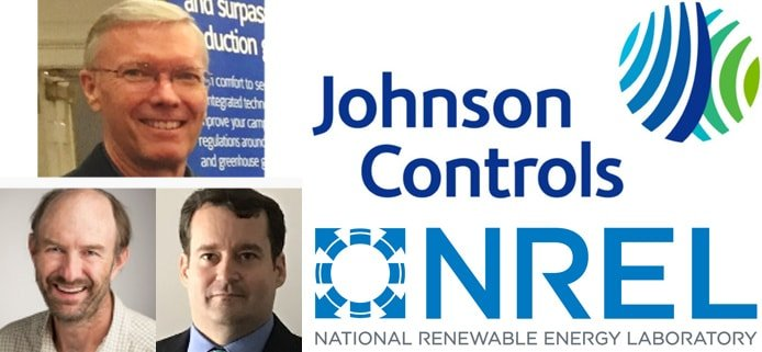 Images of Tom Carter, Otto Van Geet, and David Sickinger with Johnson Controls and NREL logos