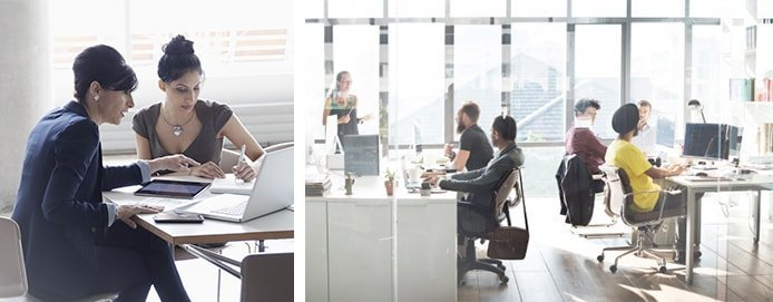 Images of people working at computers in an office setting