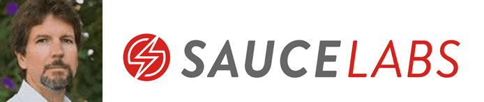Bill McGee's headshot and the Sauce Labs logo