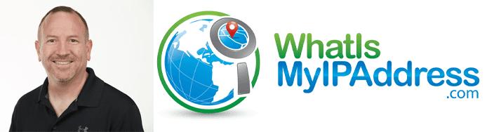 Chris Parker's headshot and the WhatIsMyIPAddress logo