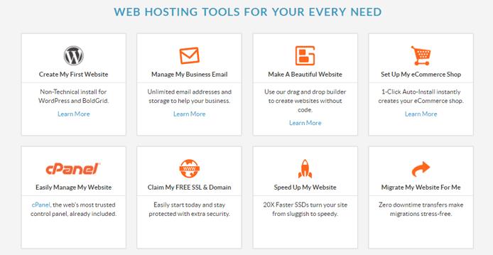Screenshot of WebHostingHub's feature set