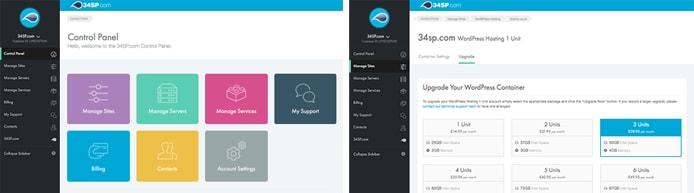 Screenshots of the 34SP.com control panel