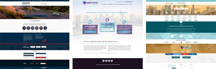 Screenshots of Insurance Website Builder templates