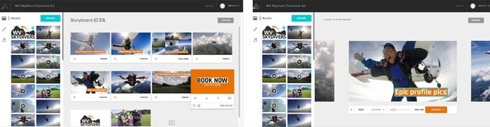 Screenshots of Animoto's platform