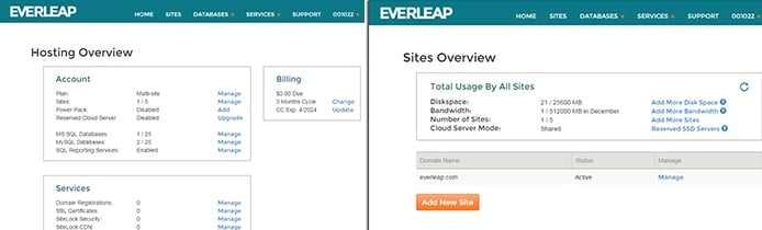 Screenshots of Everleap control panel