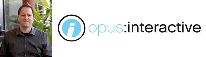 Eric Hulbert's headshot and the Opus Interactive logo