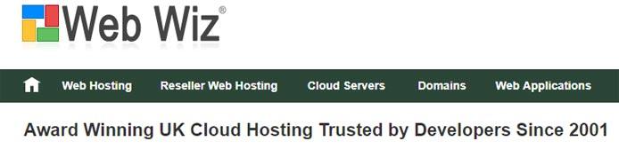 Screenshot of the Web Wiz homepage