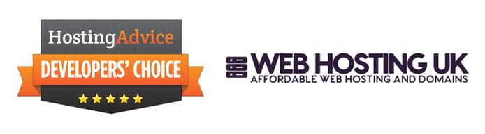 Developers' Choice badge and the Web Hosting UK logo