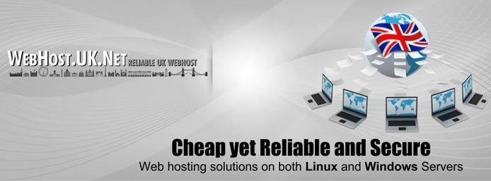 Promotional graphic for WebHost.UK.Net showing labtops surrounding the British flag