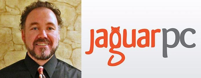 Greg Landis's headshot and the JaguarPC logo