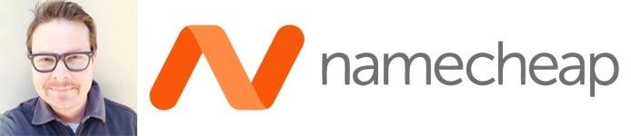 Derek Musso's headshot and the Namecheap logo
