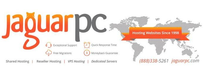 JaguarPC logo and a list of services the company provides