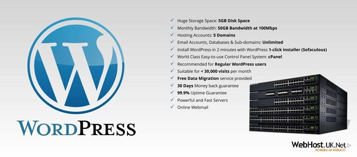 List of features that come with WebHost.UK.Net's WordPress packages