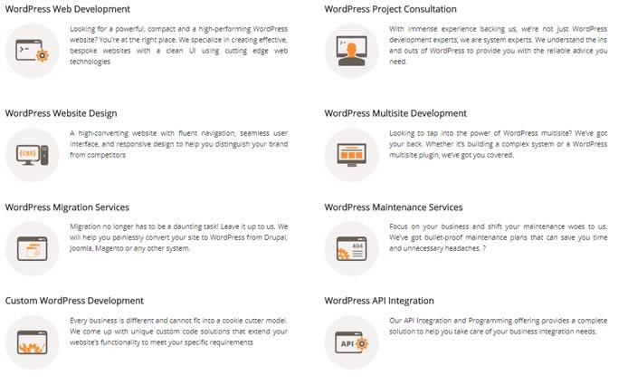 Screenshot of WisdmLabs' WordPress solutions