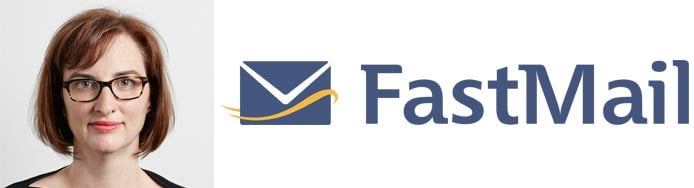 Image of Helen Hosrtmann-Allen and the FastMail logo