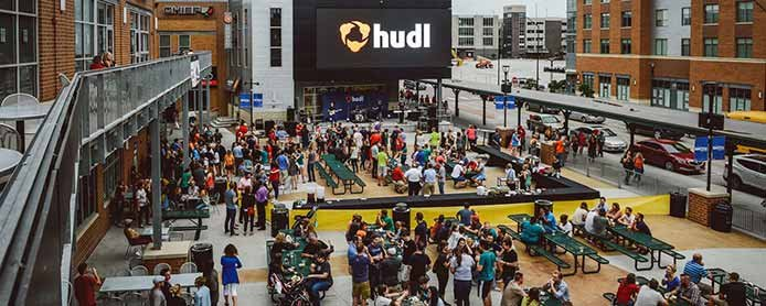 Image of employees outside Hudl headquarters