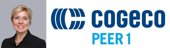 Cindy Jordan Ford's headshot and the Cogeco Peer 1 logo
