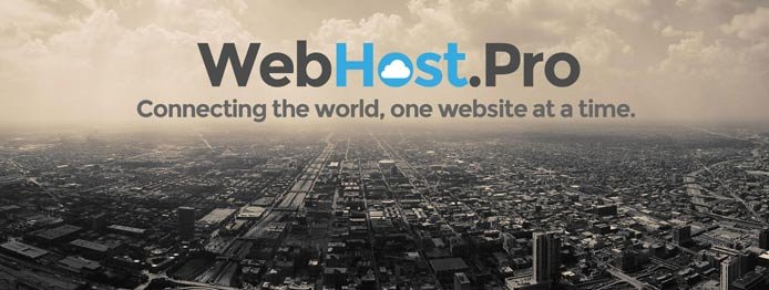 "WebHost.Pro logo, a photo of a city, and the text ""Connecting the world, one website at a time."""