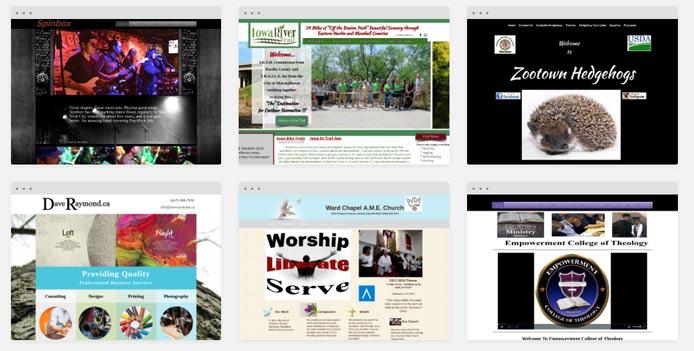 Collage of WebStarts-built websites