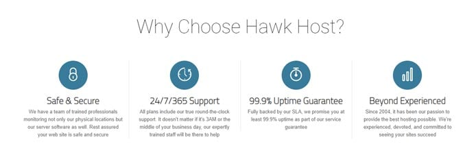 Bullet points listing reasons to choose Hawk Host