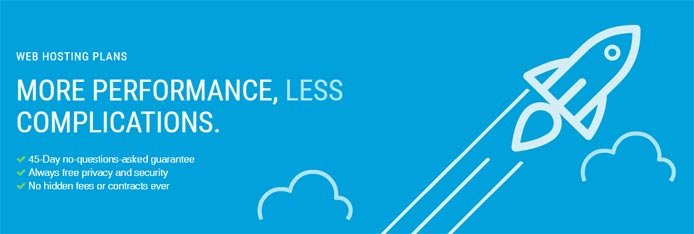 "Promotional graphic with a rocket soaring through the clouds and the text ""More Performance, Less Complications."""