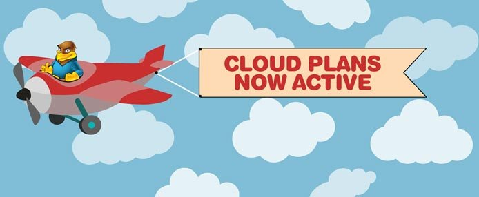 "Hawk Host mascot flying a plane with a banner that reads ""Cloud Plans Now Active"""