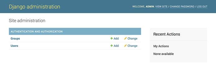 Screenshot of Django admin site