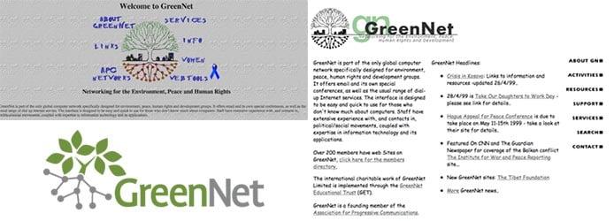 Screenshots of GreenNet's first websites