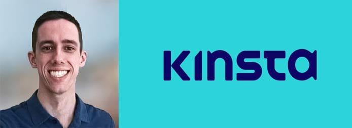 Headshot of Brian Jackson, CMO at Kinsta, and company logo