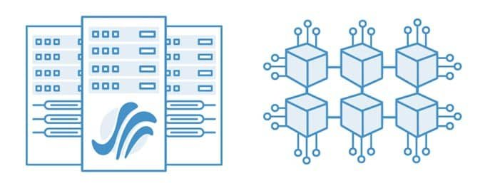 Graphic depicting servers and blocks representing digital storage