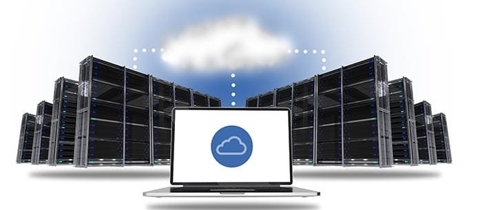 Illustration of cloud servers
