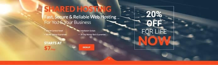 Banner showing shared hosting options