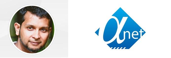 Headshot of Abu Sufian Haider and Alpha Net logo