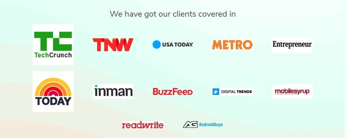 Logos of media outlets in which Promotehour has helped clients secure coverage