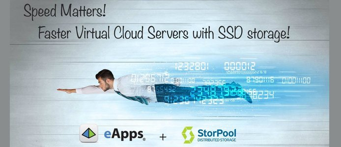 Graphic depicting fast virtual cloud servers with SSD storage